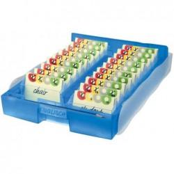 HAN Boîte de rangement + 100 Cartes A8 Croco 2-6-19 - Bleu translucide