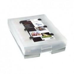 HAN Boîte de rangement + 100 Cartes A8 Croco 2-6-19 -Gris translucide