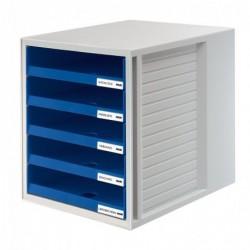 HAN Module de classement 5 tiroirs ouverts Bleu Boîtier Gris