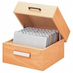 HAN Boîte à fiches en bois A5 Paysage pour 500 à 900 fiches Livrée Vide