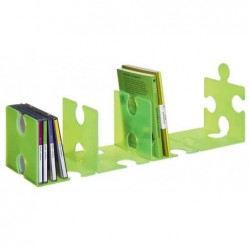HAN Pack de 2 Serre-livres / porte CD PUZZLE Vert translucide