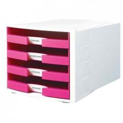 HAN Module de classement IMPULS Trend Colour 4 tiroirs Blanc Rose