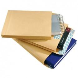 GPV Paquet de 50 sacs à soufflets kraft armé brun B4 250x353 130g bande de protection