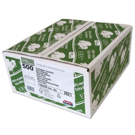 "GPV Boite de 500 Enveloppes ""ERAPure"" DL 110 x 220 mm 80g avec Bandes Blanc"