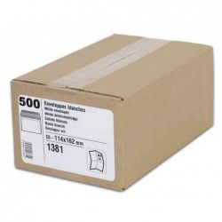 GPV Bte 500 Enveloppes C6 114 x 162 mm 80g Autocollantes Blanc