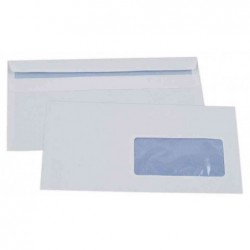 GPV Boîte de 500 enveloppes blanches DL 110x220 80 g fenêtre 45x100 autocollantes