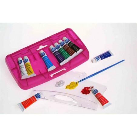 LEFRANC BOURGEOIS Boite en plastique de 10 tubes de Gouache de couleurs + pinceau
