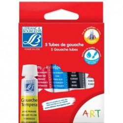 LEFRANC BOURGEOIS Etui de 5 Tubes flexibles Gouache 10 ml Blanc Noir Rouge Jaune Bleu