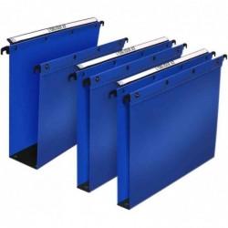 L'OBLIQUE AZ Pqt 10 Dossiers suspendus Polypro H Ultimate pour tiroir F80 mm Bleu