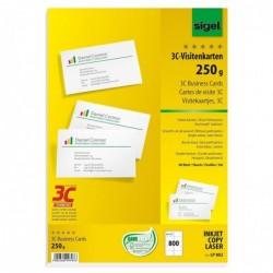 SIGEL Cartes de visite 3C, 85 x 55 mm, 250 g/m2, extra blanc, 800 sur 80f