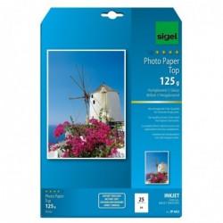 SIGEL Pqt de 25 Feuilles Papier photo jet d'encre TOP A4 brillant 125 g Blanc