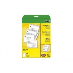 SIGEL Fiches PC, A7 (A4), blanc, 185 g/m2, microperforation, 20f