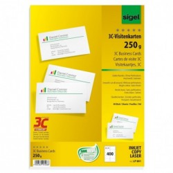 SIGEL Cartes de visite, 85 x 55 mm, 250 g/m2, extra blanc, 400 sur 40f