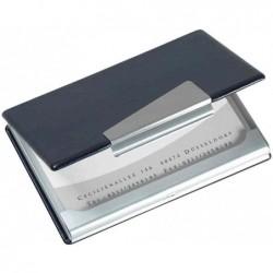 "SIGEL Etui cartes de visite 90 x 58 mm ""look aluminium/cuir"""