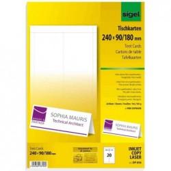 SIGEL Cartes de table blanc 185 g Pliée 240x90/180 mm Pqt de 20
