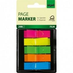 "SIGEL Distributeur 200 Index repositionnable ""Z-Marker"" film 12 x 45 mm Néon Assortis"