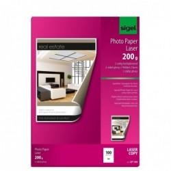 SIGEL Paquet de 100 feuilles papier photo Laser A4 200 g glacé recto-verso