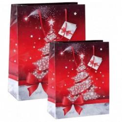 """SIGEL Lot de 5 Sacs cadeau de Noel """"Sparkling Tree""""  (L)260 x (P)120x (H)230 mm"""
