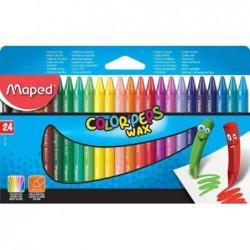 MAPED Etui de 24 Crayon Cire COLOR'PEPS WAX Assortis