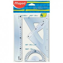 MAPED Kit géometrie Medium Start 242 4 pièces Tranparent règle 20 cm