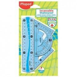 MAPED Mini kit de géométrie Flex, incassable, 4 pièces règle 15 cm