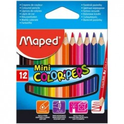 MAPED Etui de 12 Crayons de couleur COLOR'PEPS MINI 8,7 cm Assortis