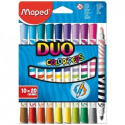 MAPED Etui de 10 Feutres double pointe COLOR'PEPS DUO Assortis