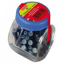 HERLITZ Flacon en verre avec 100 cartouches d'encre Bleu effaçables