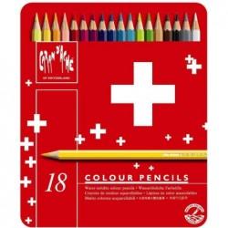 CARAN D'ACHE étui métal de 18 Crayons de couleur Swisscolor
