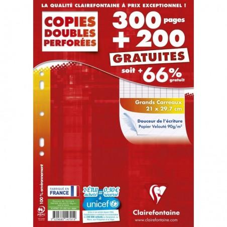 CLAIREFONTAINE Copie doubles Seyes Grand carreaux Paquet de 300 + 200 gratuit