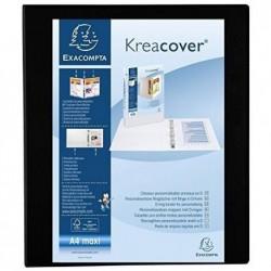 EXACOMPTA Classeur personnalisable Kreacover A4 Maxi 4 Ax Diam 30 mm Dos 47 mm Noir