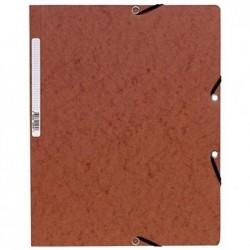 EXACOMPTA Chemise à élastiques sans Rabats carton 400g 24x32 cm Tabac
