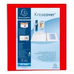 EXACOMPTA Classeur personnalisable Kreacover A4 Maxi 4 Ax Diam 40mm Dos 60 mm Rouge