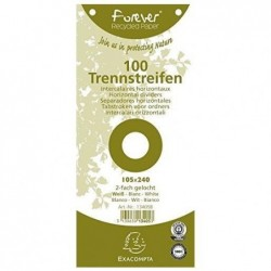 EXACOMPTA Paquet de 100 Fiches Interc.105x240 Recycl. BLC perf/2T