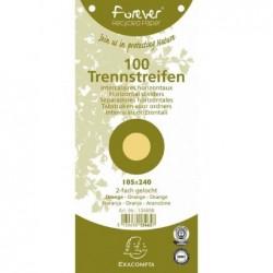 EXACOMPTA Paquet de 100 Fiches Intercalaire 105x240 Recyclées 2 trous Jaune