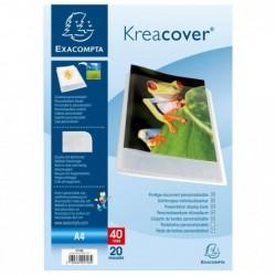 EXACOMPTA Porte vues PP semi rigide Krea Cover Chromaline 40 vues Blanc Transparent