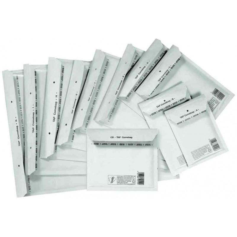 TAP pack de 10 Pochettes bulles d'air B12 140 x 225 mm (Int 110x215) Blanc