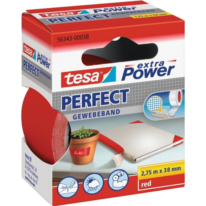 TESA Ruban toilé adhésif Extra power 38 mm x 2,75 m Rouge