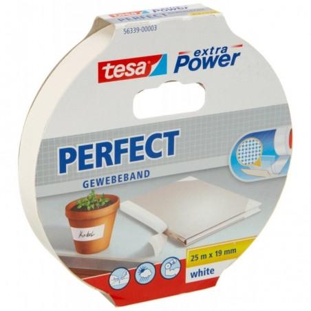 TESA Ruban toilé adhésif Extra power 19 mm x 25 m Blanc