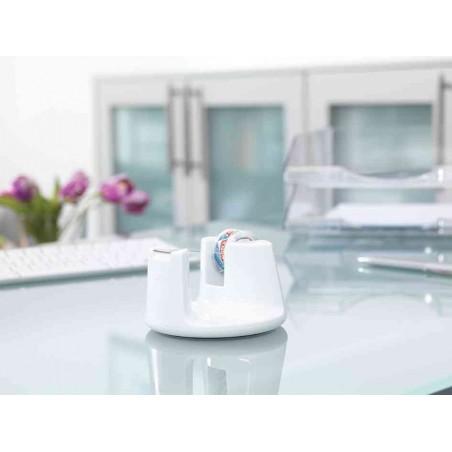TESA Dévidoir de table Easy Cut Compact, équipé, blanc