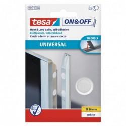 TESA Etui de 8 VELCRO pastilles adhésives Diam 16 mm Blanc