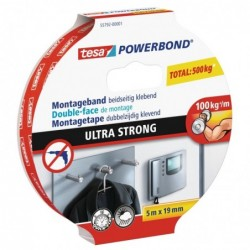 TESA Powerbond Ruban de montage Ultra Strong, 19 mm x 5,0 m