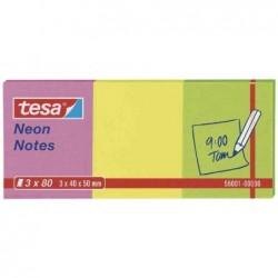 TESA Pack de 3 Bloc-notes repositionnables 40 x 50 mm Neon tricolore