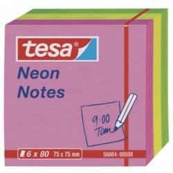 TESA Lot de 6 Bloc-notes repositionnables, 75 x 75 mm, tricolore Neon