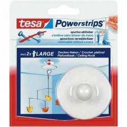 TESA Powerstrips 1x crochet 2 strips large pour plafond force 500g Blanc