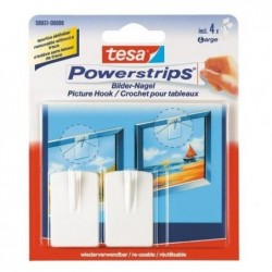 TESA Powerstrips lot 2 crochets cadre photo +4 Strips large Blanc