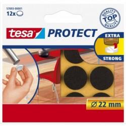 TESA Boite de 12 Feutres antiglisse / anti-rayures Diam 22 mm Marron