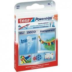 TESA Lot de 16 Powerstrips DECO Transparent Fixation: maxi 0,2 kg