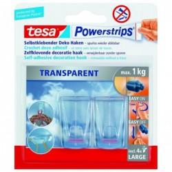 TESA Powerstrips Pack de 2 Crochets déco avec 4 Languettes L Transparent