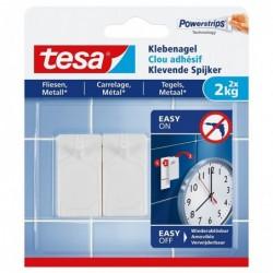 TESA Powerstrips Lot de 2 Clous adhésif pour carrelage et métal 2 Kg